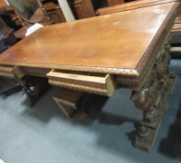 418- GREAT CARVED MAHOG. DESK - TABLE - 72'' W X 36'' D WITH 2 DRAWERS