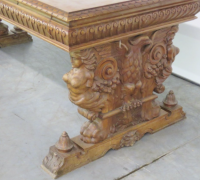 03B- GREAT CARVED EAGLE TABLE - DESK WITH 2 DRAWERS - 75'' L X 36'' D -SEE #407 TO #417