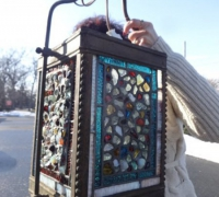 121-  sold - antique-stained-glass-light
