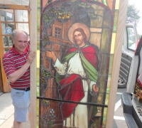 162-  sold - antique-stained-glass-window