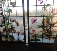 176- sold - antique-landscape-stained-glass-windows-20-in-x-68-in-h