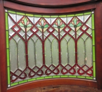 872-RARE! BRUNSWICK 16 FT LONG ANTIQUE STAINED GLASS WALL - IN 3 PCS. - C. 1880