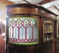 873-RARE! BRUNSWICK 16 FT LONG ANTIQUE STAINED GLASS WALL - IN 3 PCS. - C. 1880