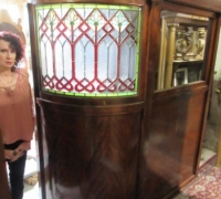 874-RARE! BRUNSWICK 16 FT LONG ANTIQUE STAINED GLASS WALL - IN 3 PCS. - C. 1880