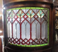875-RARE! BRUNSWICK 16 FT LONG ANTIQUE STAINED GLASS WALL - IN 3 PCS. - C. 1880