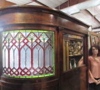 876-RARE! BRUNSWICK 16 FT LONG ANTIQUE STAINED GLASS WALL - IN 3 PCS. - C. 1880