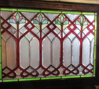 877-RARE! BRUNSWICK 16 FT LONG ANTIQUE STAINED GLASS WALL - IN 3 PCS. - C. 1880