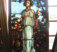 04-GREAT TIFFANY ?....LADY AND GRAPES WITH DRAPERY GLASS 66 ......SEE 884 TO 889 FOR ADDITIONAL PICTURES