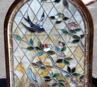 926....2 PIECE STAINED GLASS WINDOW WITH BIRDS...97